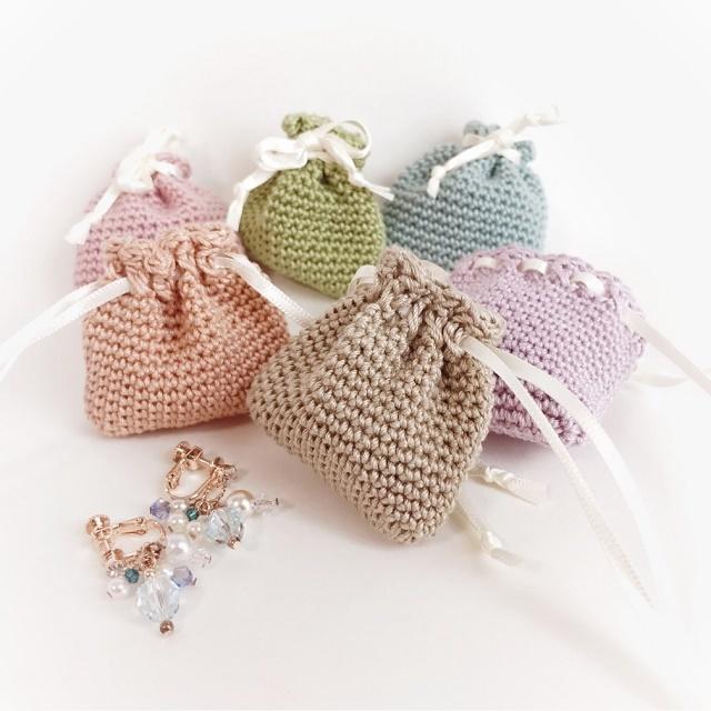 手編み雑貨 HanahanD アクセサリーケース 巾着 巾着袋 レース