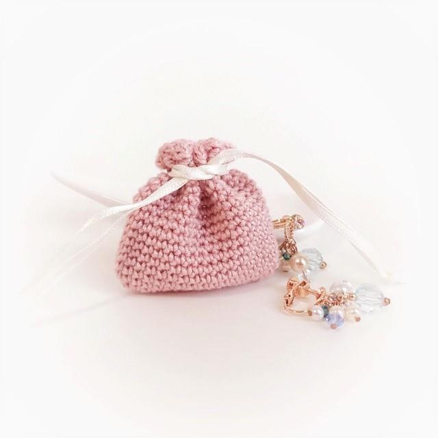 手編み雑貨 HanahanD アクセサリーケース 巾着 レース