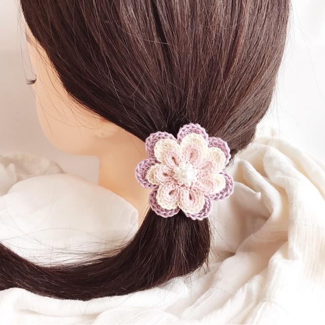HanahanD 手編み雑貨 ローズのヘアゴム ヘアアクセサリー