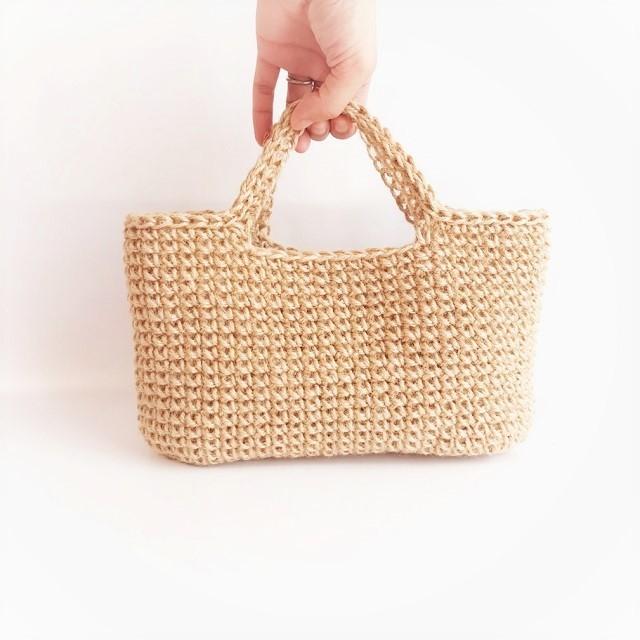 手編み雑貨 HanahanD リネン 麻 バッグ ハンドバッグ