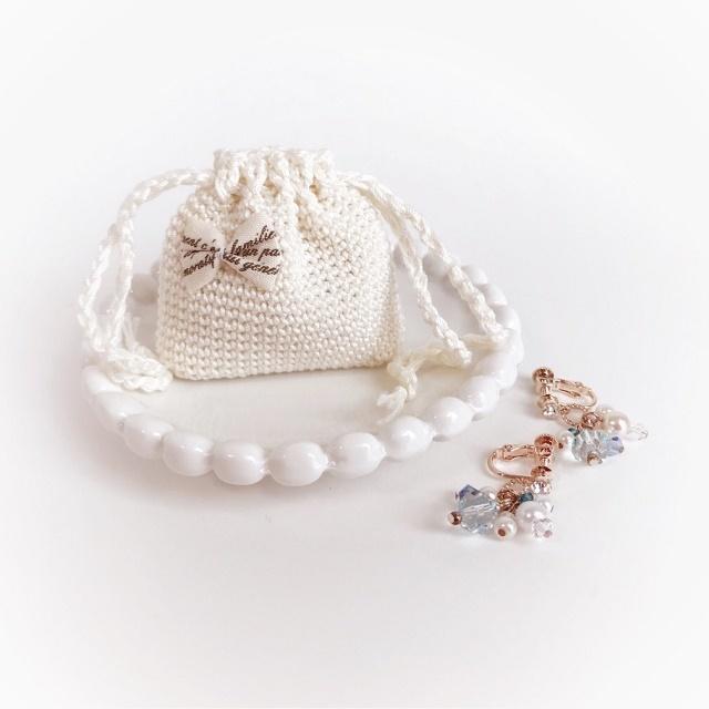 手編み雑貨 HanahanD アクセサリーケース 巾着 レース リボン