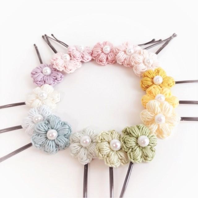 手編み雑貨 HanahanD 花 ヘアピン ヘアアクセサリー レース