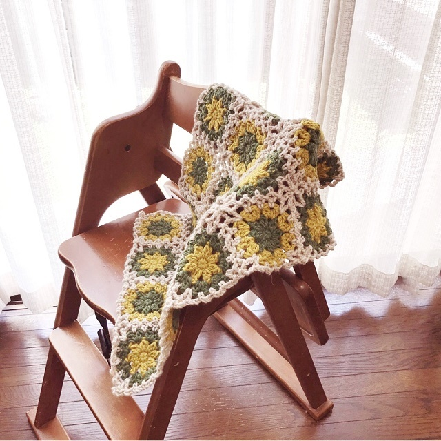 手編み雑貨HanahanD モチーフ繋ぎのひざかけ ラグブランケット