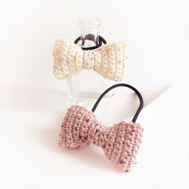 手編み雑貨 HanahanD リボンのヘアゴム ヘアアクセサリー