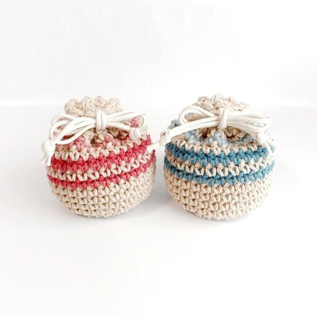 手編み雑貨 HanahanD 手編みのコットンの巾着袋