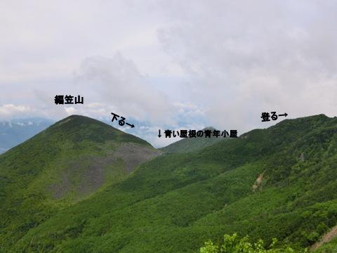 編笠山から青年小屋