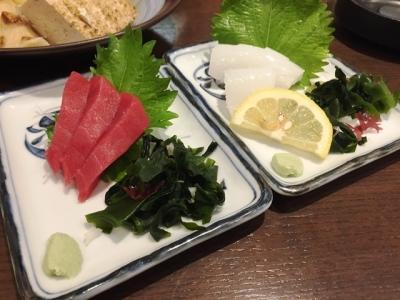 170506なじみ野大阪駅前第2ビル店マグロ刺身とイカ刺身