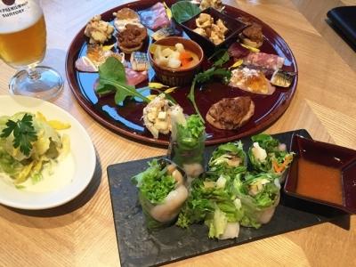 170512MASTERS DREAM HOUSE NAGOYAビールのための前菜6種盛り合わせ1人前680円海老と長芋の生春巻き780円