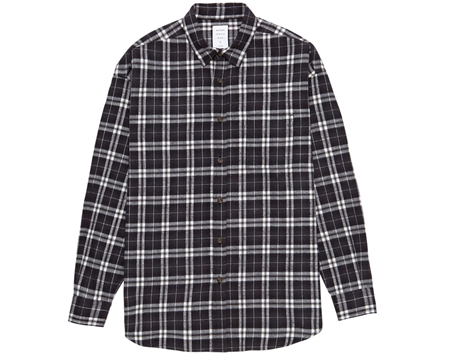 MGL-SH01 NEL CHECK OVER SHIRT BLACKテ邑HITE_R
