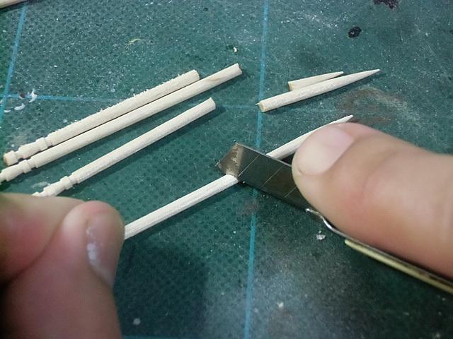 爪楊枝を切る