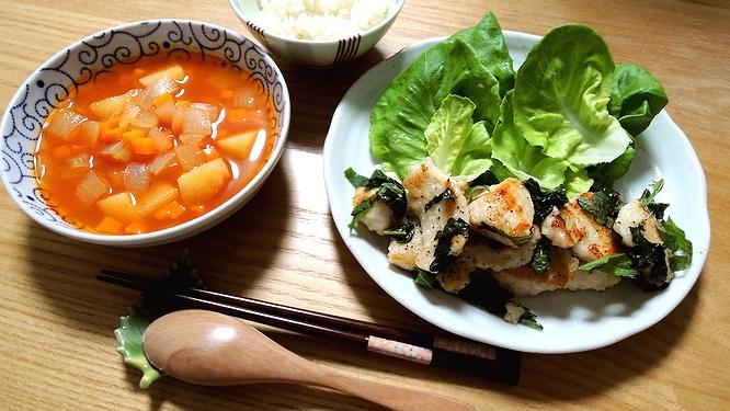 鶏むねの青しそ炒め定食