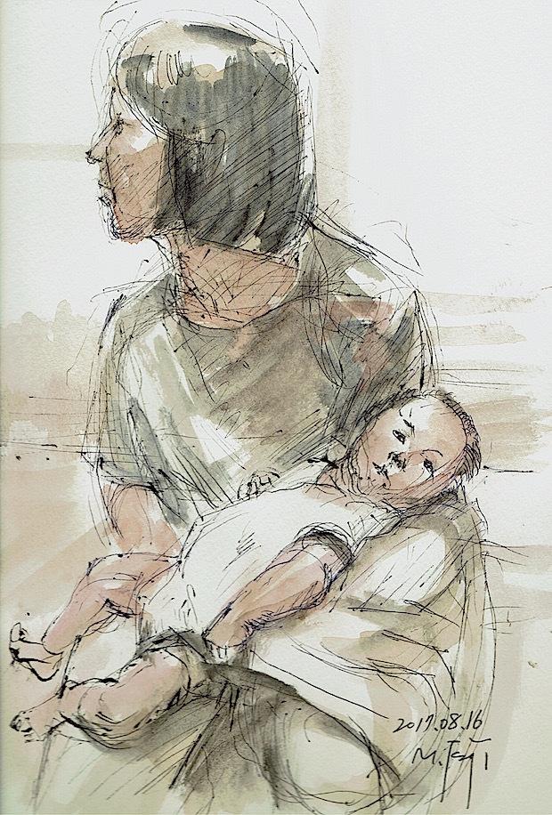 そばにいる気色「2ヶ月の孫]ボールペン、水彩、珈琲、watson紙、20170816。