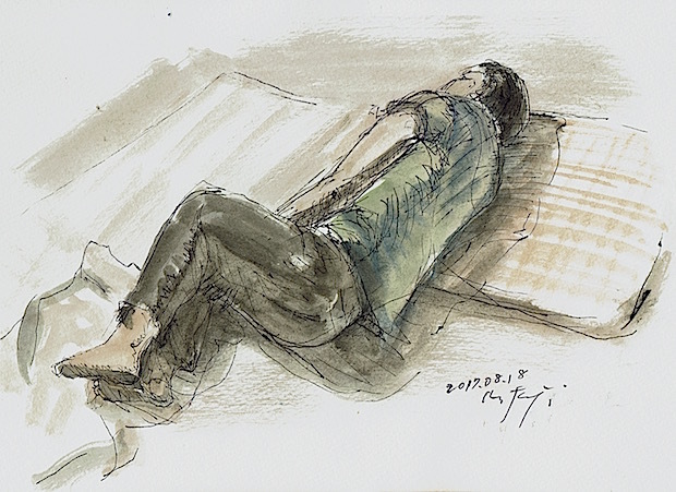 そばにいる気色「午睡」ボールペン、水彩、watson紙、20170818。