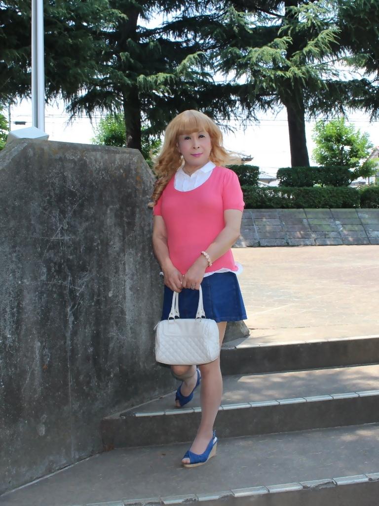 ピンクのトップスデニムミニスカA(1)
