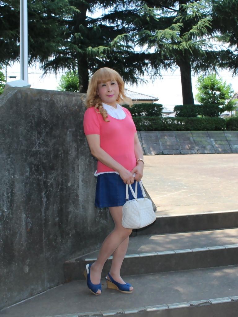 ピンクのトップスデニムミニスカA(2)