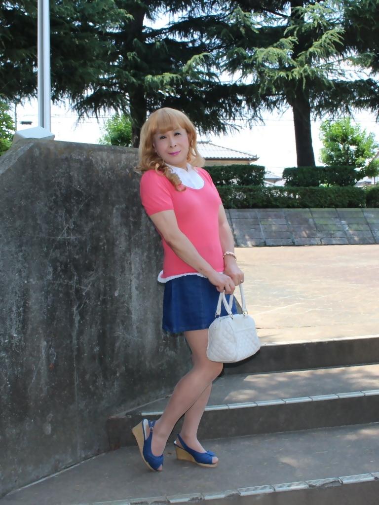 ピンクのトップスデニムミニスカA(3)