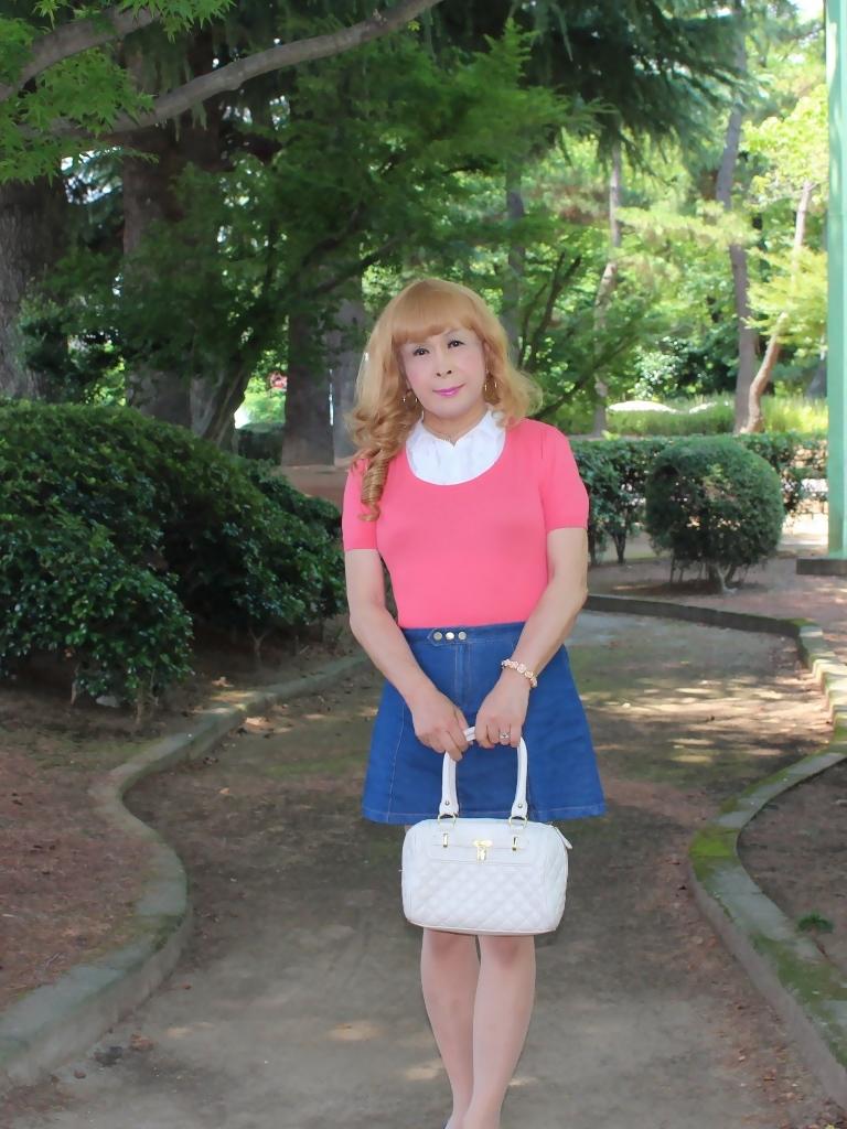 ピンクのトップスデニムミニスカB(1)