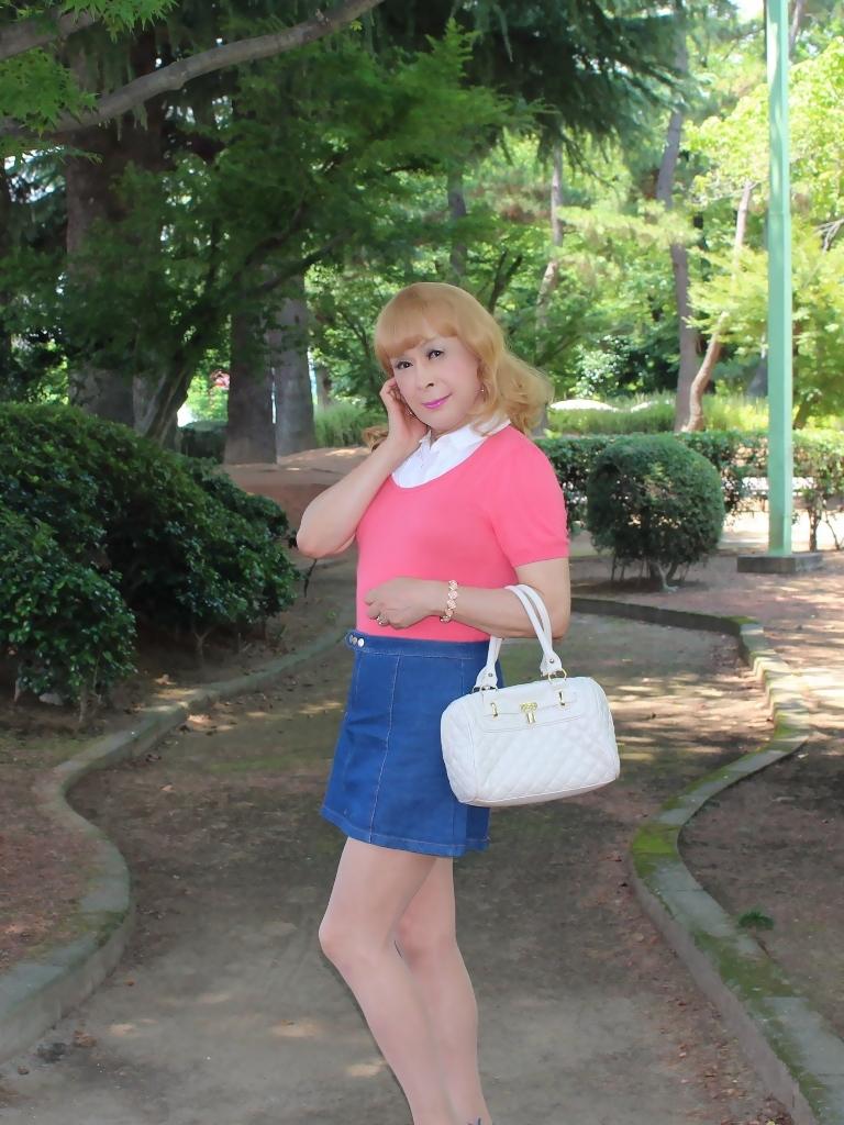 ピンクのトップスデニムミニスカB(2)