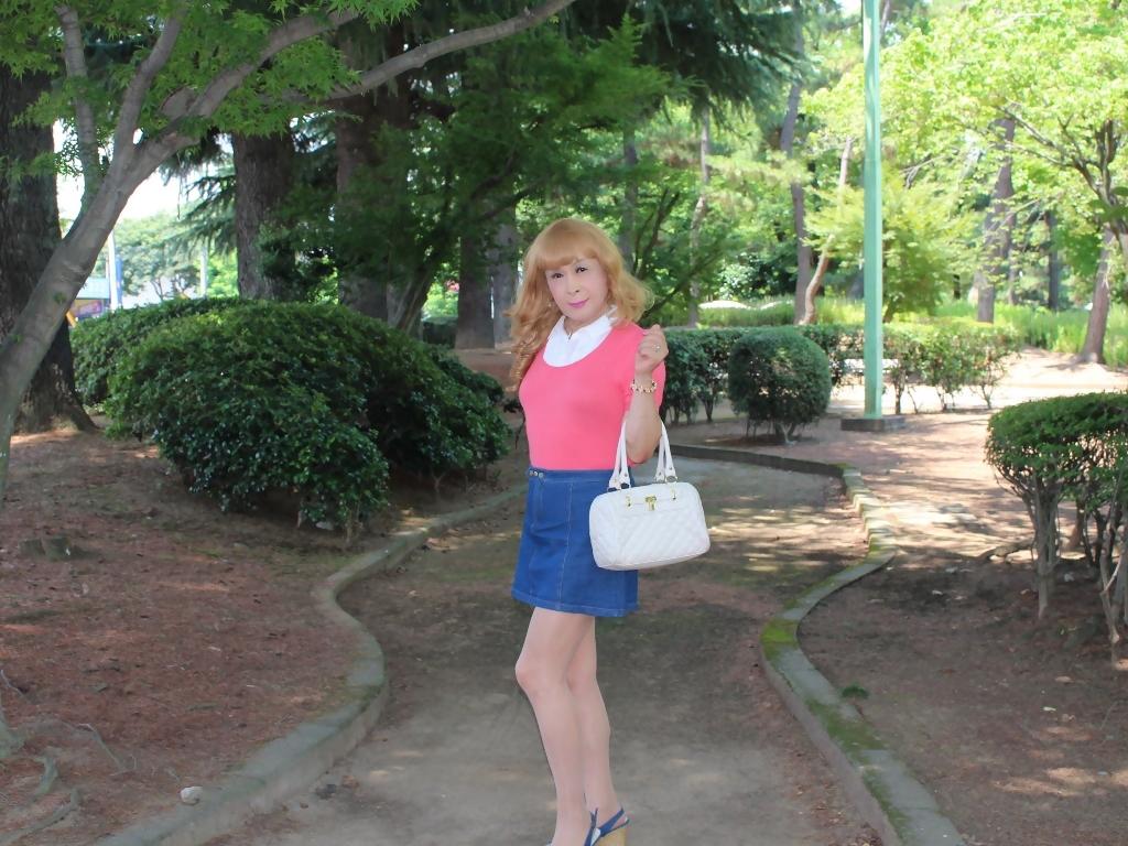 ピンクのトップスデニムミニスカB(3)