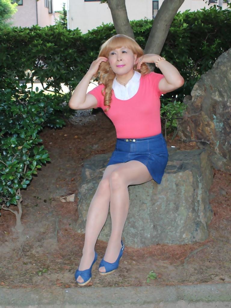 ピンクのトップスデニムミニスカC(1)