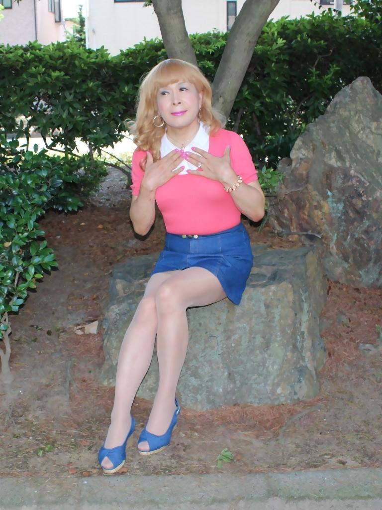 ピンクのトップスデニムミニスカC(2)