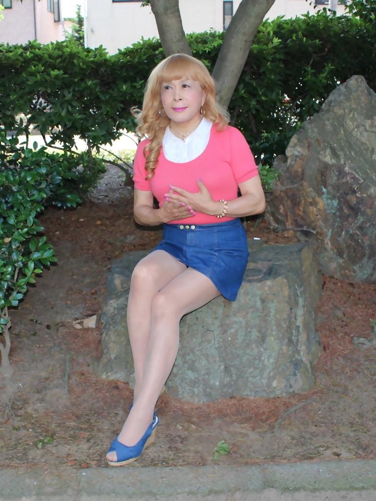 ピンクのトップスデニムミニスカC(3)