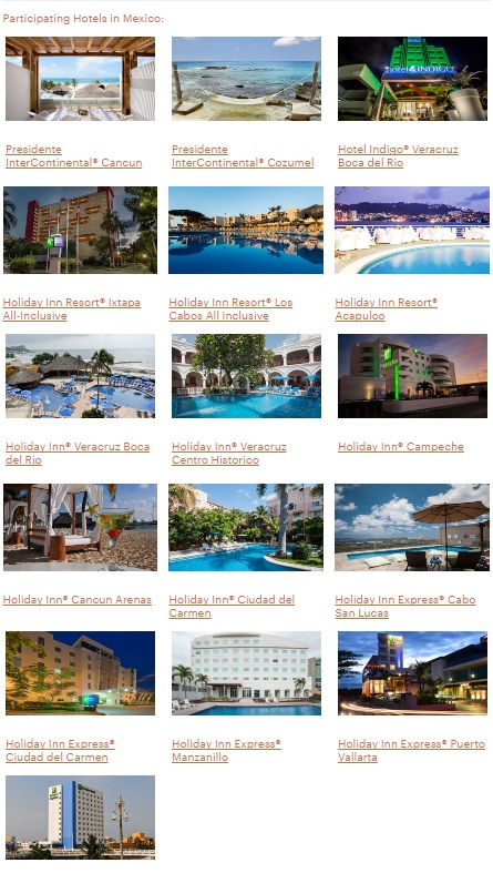 IHGリワードクラブ メキシコ、ラテンアメリカ、カリブ海でポイントによる宿泊が50%OFF