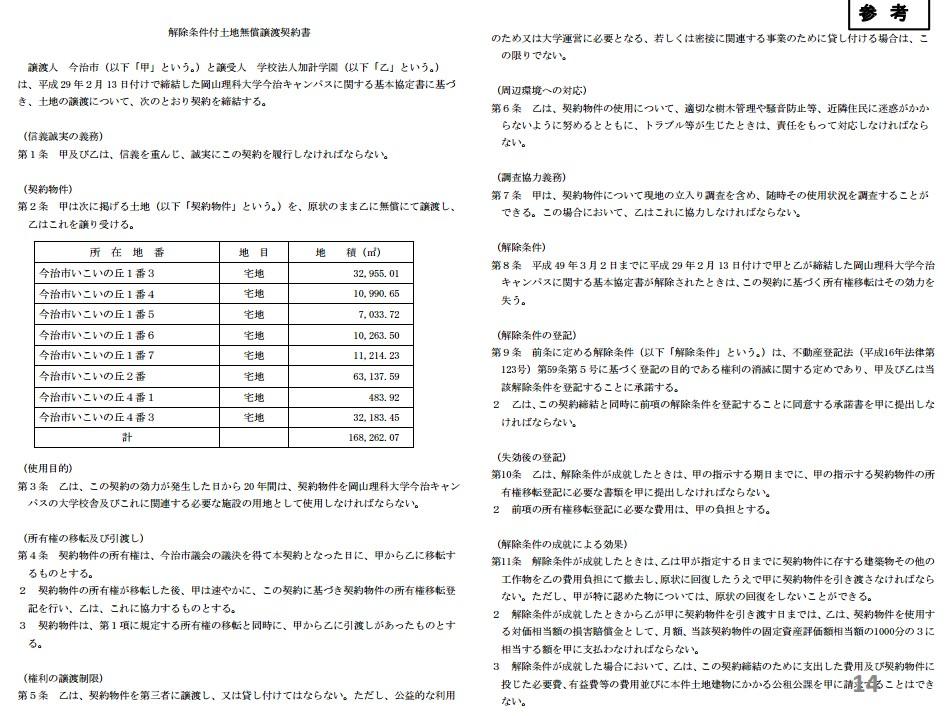 解除条件付土地無償譲渡契約書 (1)