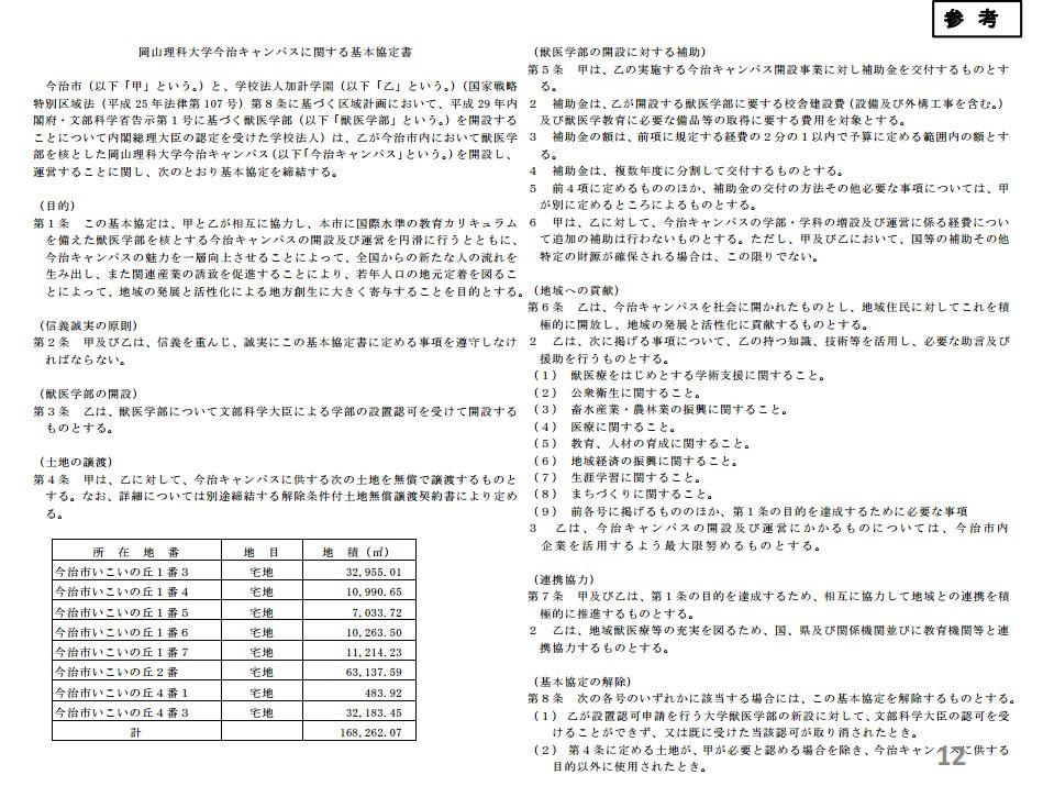 岡山理科大学今治キャンパスに関する基本協定書 (1)