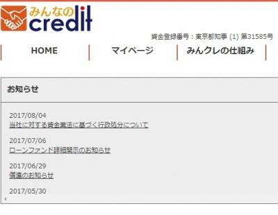 みんなのクレジット 東京都 行政処分