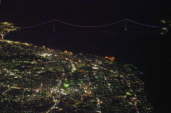 明石上空から明石海峡大橋