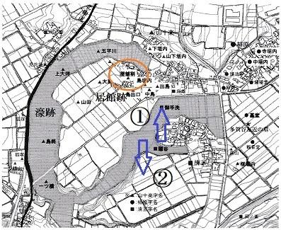 多賀谷館跡位置図