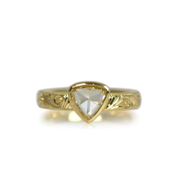 K18ローズカットダイアモンド手彫り彫金リング指輪手作り加工オーダーメイドジュエリーリメイク