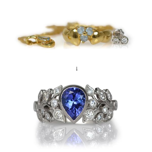 Pt900プラチナタンザナイトダイアモンドリング指輪手作り加工リメイクリフォームオーダーメイドジュエリー作り変え.