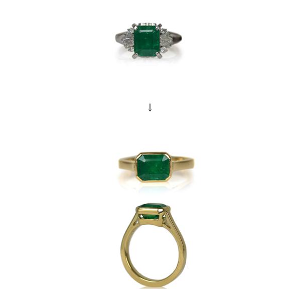 K18YGイエローゴールドエメラルドリング指輪加工手作り作り変えリメイクリフォームオーダーメイドジュエリー