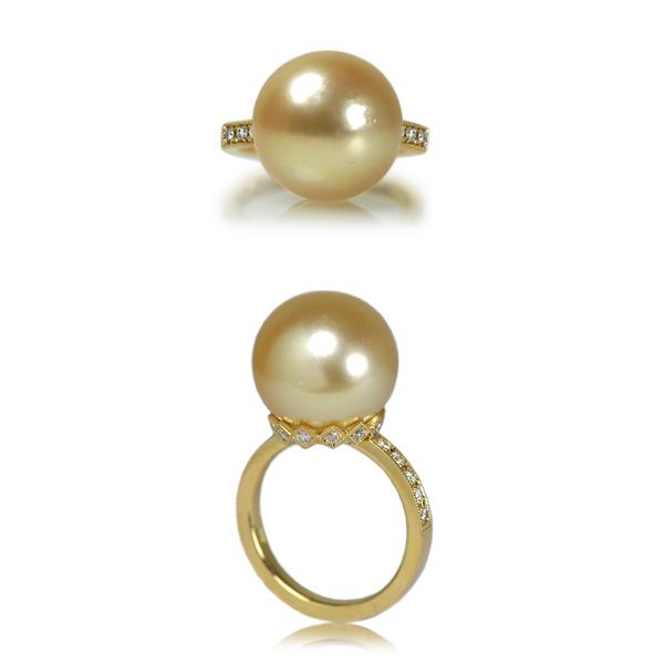 K18YG製イエローゴールド南洋ゴールデン真珠ダイアモンドリング指輪作り変えリメイクリフォーム加工手作りオーダーメイドジュエリー