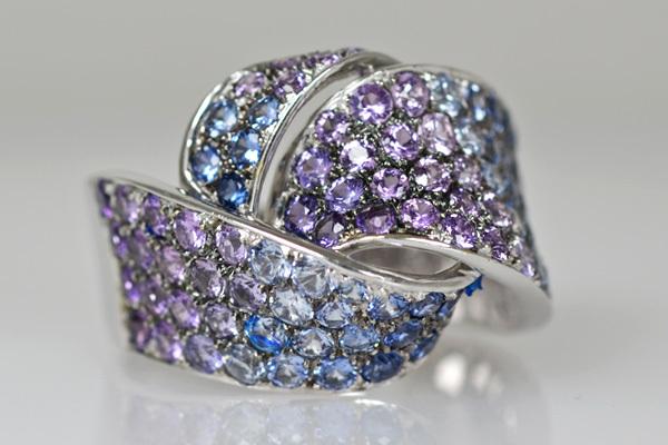 K18WG製サファイアリング指輪カラーサファイアグラデーション