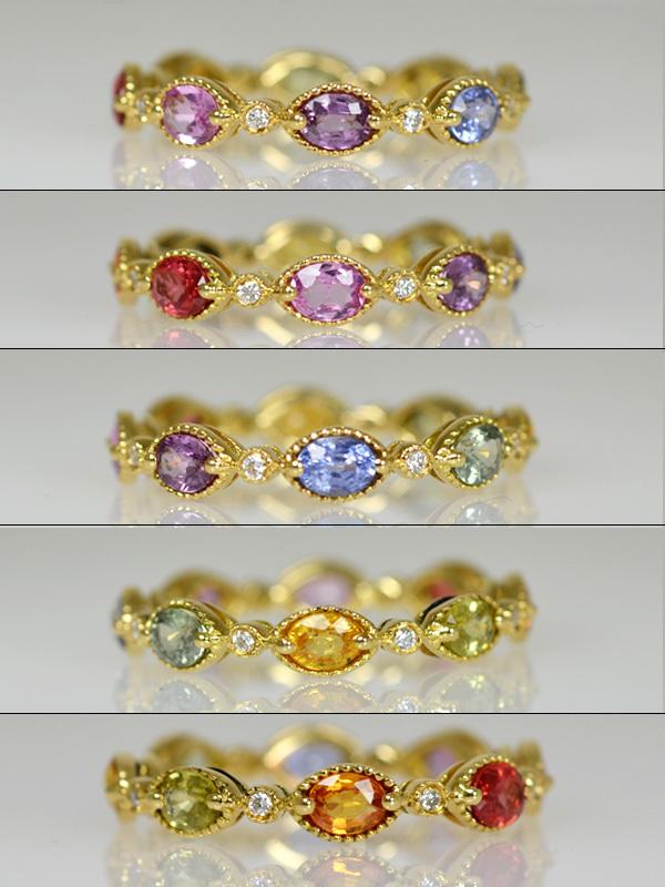 K18YG製イエローゴールドカラーサファイアダイアモンドフルエタニティリング指輪