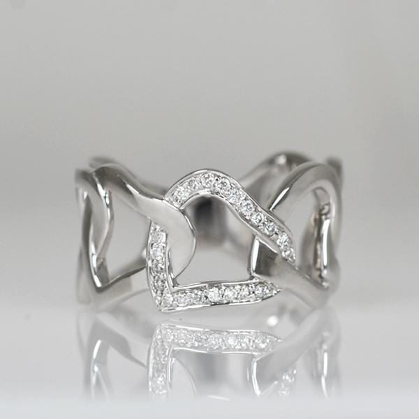 K18WG製ホワイトゴールドダイアモンドリング指輪