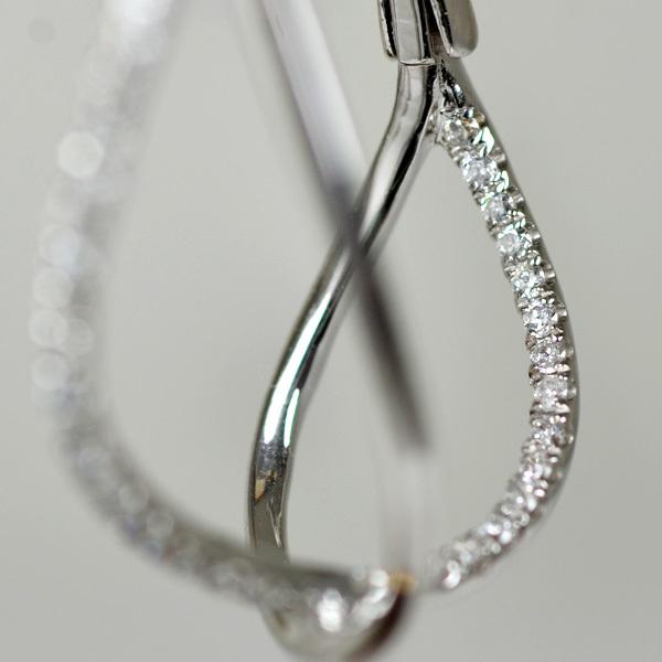 K18WG製ダイアモンドフープピアス