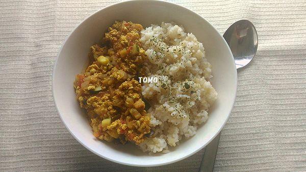 お豆腐とひき肉のキーマカレー