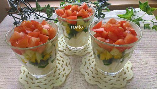 トマトとお豆腐のカップサラダ