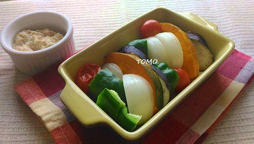 夏野菜のレンジ蒸しツナソースかけ
