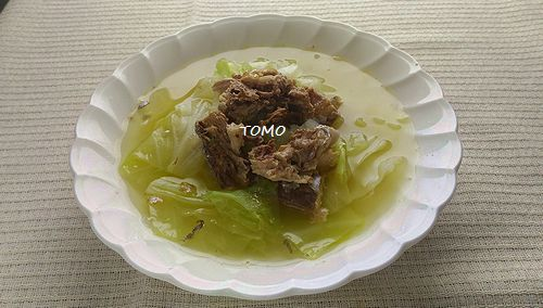 キャベツとサバの生姜スープ