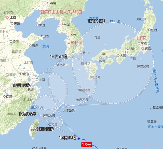 台風18号進路 20170912