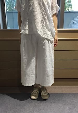 白綿麻パンツ