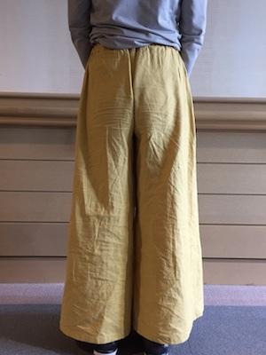 黄色綿麻パンツ①