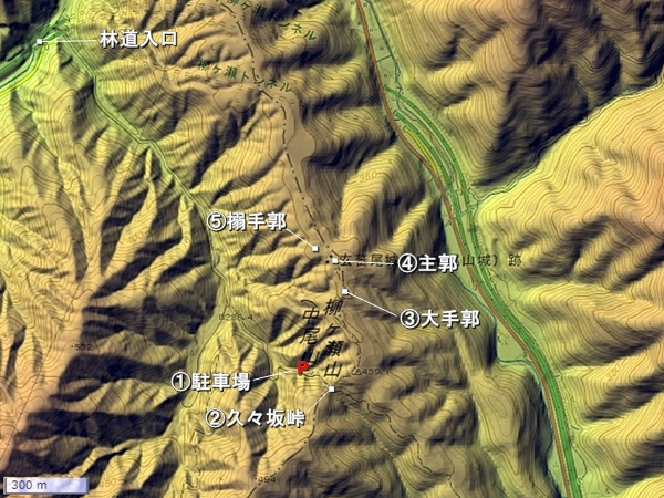 玄蕃尾城地形図