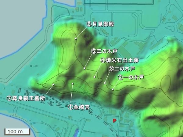 金ヶ崎城地形図