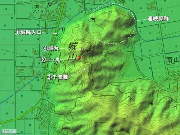 東郷槇山城地形図
